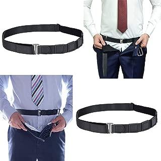 2 Pack Belt Style Shirt Stays for Men Women Police Military, Adjustable Elastic(Black)