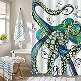 MitoVilla Trippy Octopus Duschvorhang, Vintage-Meerestiere, Monster, Kraken Tentakel, Kunstdruck, Badezimmer-Zubehör für Herren & Kinder, Ozeanthema, Raumdekoration, grün, gelb, 182,9 cm B x L