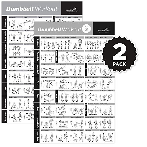 VOL 1+2 DUMBBELL EXERCISE POSTER 2-PACK LAMINATED - Workout Strength Training Chart - Build Muscle Tone, Tighten - Home Gym Weight Lifting - Body Building Guide w/ Free Weights & Resistance - 20