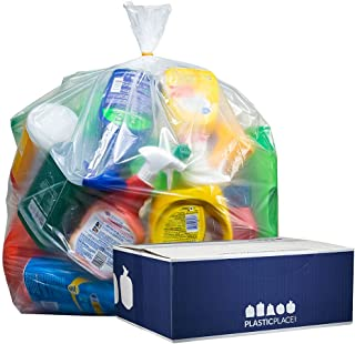 """Plasticplace 55-60 gallon Trash Bags │ 1.5 Mil │ Clear Heavy Duty Garbage Can Liners │Rolls │ 38"""" x 58"""" (100Count)"""