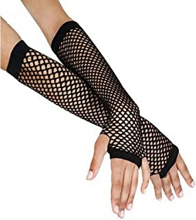 Malltop Sexy Women Punk Gothic Disco Dance Wedding Bride Costume Gloves Lace Fingerless Mesh Fishnet Double-used Mitten Stockings