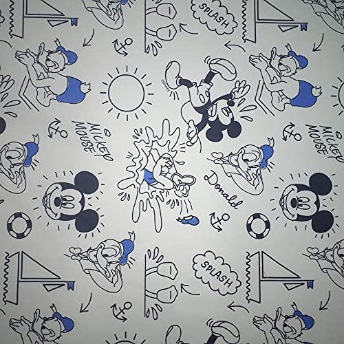 Kt KILOtela Tela popelín Estampada Digital - 100% algodón - Retal de 100 cm Largo x 150 cm Ancho | Mickey y Amigos, cómic - Azul, Negro, Blanco ─ 1 Metro