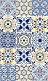 Blindecor Alfombra vinílica Azulejos, Vinilo, Azul(Multicolor), 100x150