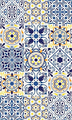 Blindecor Tappeto vinilico piastrelle, vinile, blu (multicolore), 100 x 150 cm
