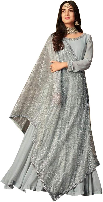 Designer Grey Abaya Left to Right Dupatta Dori Style Party Wear Suit 7542