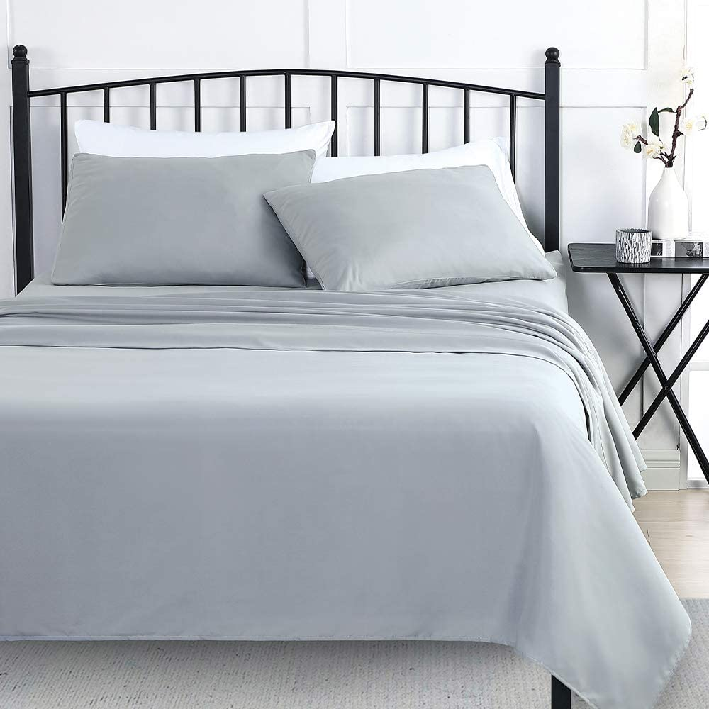 Wellbeing Bed Sheets Grey Twin 3 Bedding 5 ☆ popular Sh Cotton Max 90% OFF Pieces