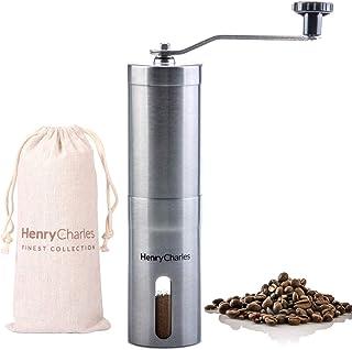 Manuell kaffekvarn i rostfritt stål från HenryCharles med justerbara keramiska konformade kvarnblad och manuell kvarn, ko...