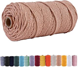 Aphoraeny Macrame Cord 3mm×109yd 100% Natural Macrame Cotton Cord Twine String Cord Colored Cotton Rope Craft Cord for DIY...