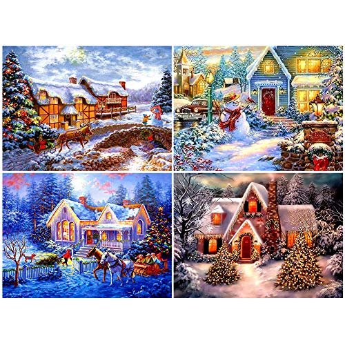 fanshiontide 4 Unidades Kits de Bricolaje de Pintura de Diamante 5D Navidad, Bordado de Arte de Diamante, Arte de Punto de Cruz de Diamante 11,81x15,75 Pulgadas