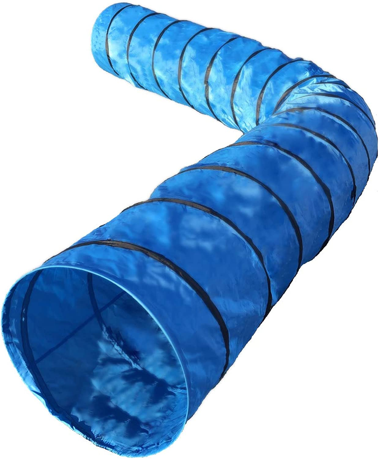 """Rise8 Studios Dog Agility Tunnel   Pet Training Equipment   Rip and Tear Resistant   Includes Carry Bag and Ground Stakes   Made of 420D Polyester 24"""" Diameter, 18' Long"""