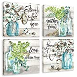 Flower Canvas Wall Art Painting Watercolor Plant in Glass Bottle Print Pictures Family Together Quotes Artwork for Farmhouse Kitchen Decoration Framed