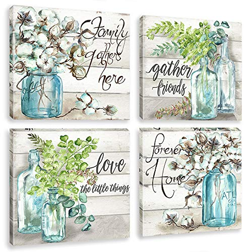 Flower Canvas Wall Art Prints Watercolor Plant Painting on Retro Wood Mason Jar Pictures Forever Home Quotes Artwork for Kitchen Bathroom Decoration Framed
