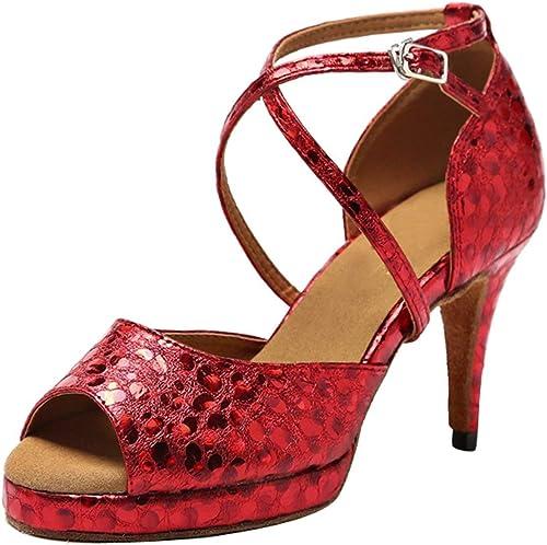 Qiusa GL225 Silberforma para Damas Sintético Tango Latino Salón de Baile schuhe de Baile Profesional Boda Sandalias (Farbe   rot-8.5cm Heel, tamaño   7.5 UK)
