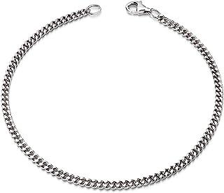 Materia SA-134 - Bracciale a maglia barbazzale in argento Sterling 925, diametro 2,8 mm, diamantato, 17-23 cm
