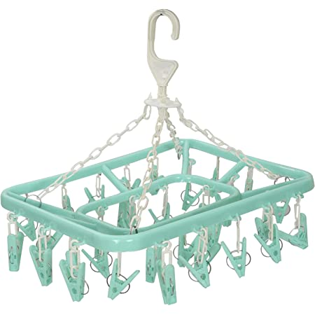 Kuber Industries Plastic 360 Degree Portable Folding Clothes Drying Rack Space Saving Travel Rotatable Clips (Green, 32 Clip, KUBMART15537)