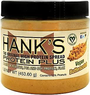 Hank's Protein Plus Vegan High Protein Peanut Butter Spread, Butterscotch, 1 lb - Healthy Vegan Snack Food