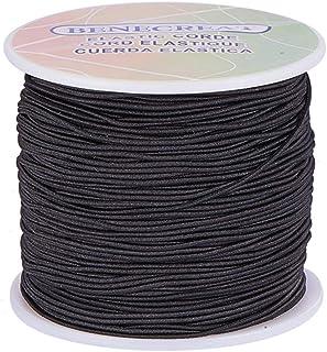 BENECREAT 100 Yard Elastic Cord Stretch Thread Beading Cord Fabric Crafting String (,) 1mm Black