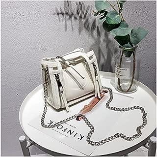 New Women's Shoulder Bag Transparent Bag Jelly Bag Laser Bucket Shoulder Bag Chain Messenger Bag (Color : White, Size : S)
