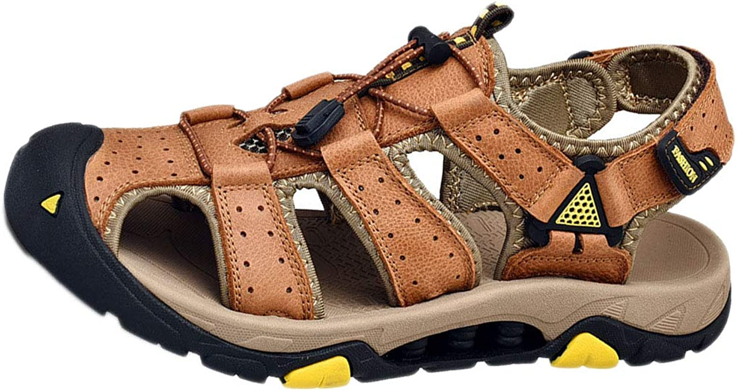 Mens Trail Sandals Summer Walking Non-Slip Offroad Beach shoes Outdoor Leather Breathable wear-Resistant Toe Cap Anti-Collision Head