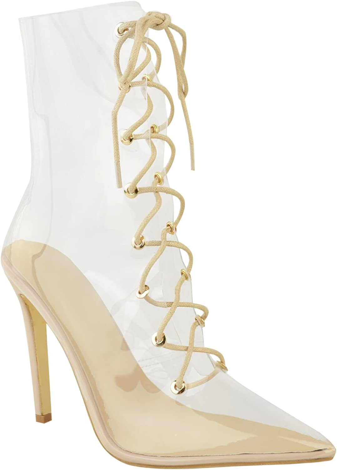 Fashion Thirsty Womens Lace up Clear Perspex High Heels Stilettos Ankle Calf Boots Size