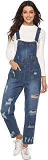 Zukzi Women's Ripped Boyfriend Fit Denim Bib Overalls