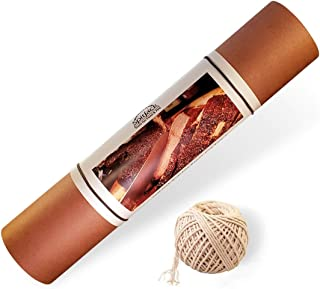 SpitJack Pink Butcher Paper for Smoking Meat and Kitchen Twine Bundle. 24 Sheets of 16 Inch x 30 Inch Peach BBQ Butchers Brisket Paper and 185 Feet of Natural Cotton 16 Strand Wrapping Twine