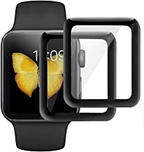 KINPEI for Apple Watch Series 3/2/1 Screen Protector 42mm [2Pack][3D Tempered Glass Full Coverage][Scratch Resistant][Waterproof] Tempered Glass Film for Apple iWatch (42mm)