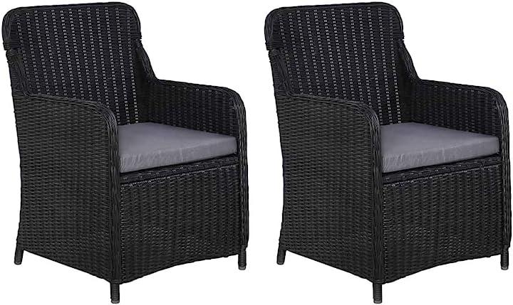 Sedie da esterno con cuscini polyrattan nero poltroncine da giardino vidaxl 2 pezzi 44146