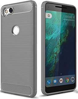 Google Pixel 2 Case,Google Pixel2 Case, Dretal Carbon Fiber Shock Resistant Brushed Texture Soft TPU Phone case Anti-Fingerprint Flexible Full-Body Protective Cover for Google Pixel 2 (X-Gray)