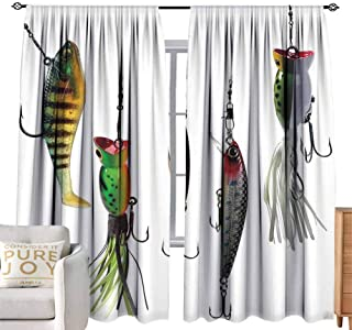 Double Curtain Rod Fishing,Various Type of Fishing Baits Hobby Leisure Passtime Sports Hooks Catch Elements,Multicolor W96 x L84 inch,Hinder Light