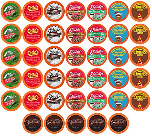 Two Rivers Coffee Chocolate Lovers Coffee Pods Single Serve Cups Variety Pack Sampler for Keurig K Cup Brewer, 40 Count