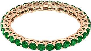 Anello Eternity da 1,28 carati certificato 2 mm smeraldo diffuso, anello nuziale antico, anello nuziale, anello classico i...