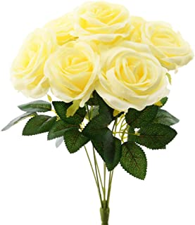 Aviviho Artificial Flowers Pale Yellow Roses with 7 Heads Fake Silk Roses Flowers for Wedding Bouquets Centerpieces Arrangements Home Decoration