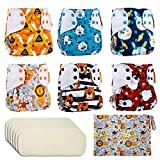 Reusable Nappies Washable Pocket Cloth Nappy Diapers, 6PCS Potty Training Pants + 6PCS Bamboo Nappy Inserts + Free Wet Bag, Suitable for Babies and Toddlers 3.5-16kg