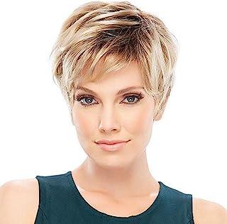 Haircube - Pelucas de pelo humano para mujer, pelo rubio corto con raíz negra