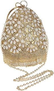 Sturdy Crystal Rhinestone Tassel Banquet Shoulder Messenger Handbag Evening Clutch Handbag Gold/Silver Women's Pearl Oval Clutch Handbag Large Capacity (Color : Gold)