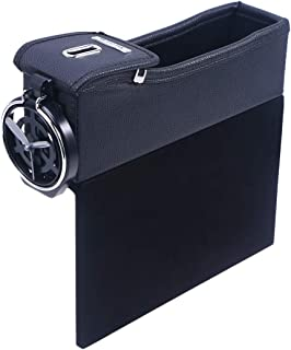 LIOOBO Leather Console Side Pocket Organizer Car Seat Filler Catcher Gap Space Storage Box Bottle Cup Holder Coin Collecto...