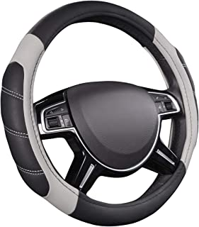 CAR PASS Line Rider Leather Universal Steering Wheel Cover fits for Truck,SUV,Cars (Black and Gray)