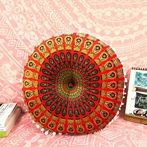 Casa Moro MA4206 - Cojín de yoga indio (55 cm de diámetro, 12 cm de altura, redondo, algodón, incluye relleno), diseño de mandala Saira, color rojo y verde