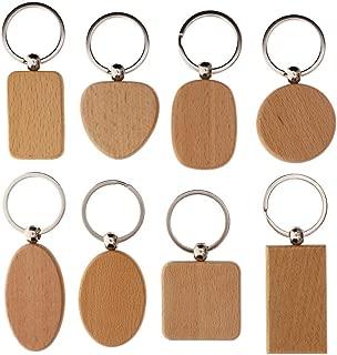 WXLAA DIY Blank Wooden Key Chain Personalized EDC Wood Keychains Best Gift
