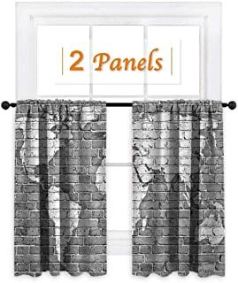 maisi Wanderlust, Window Curtain Fabric, World Map on Old Brick Wall Construction Grunge Antique Stained Abstract, for Sliding Glass Door (W72 x L45 Inch) Pale Grey White