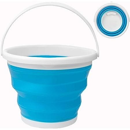 Seau à eau Pliable de 10 L, Seau Retractable Portable pour Camping, Pêche, Voyage, Lavage de Voiture (Rond Bleu)
