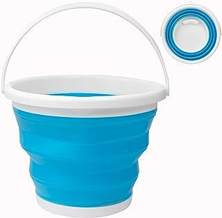 Seau à eau pliable de 10 L, carré et rond en plastique silicone pour camping, pêche, voyage, lavage de voiture (rond bleu)