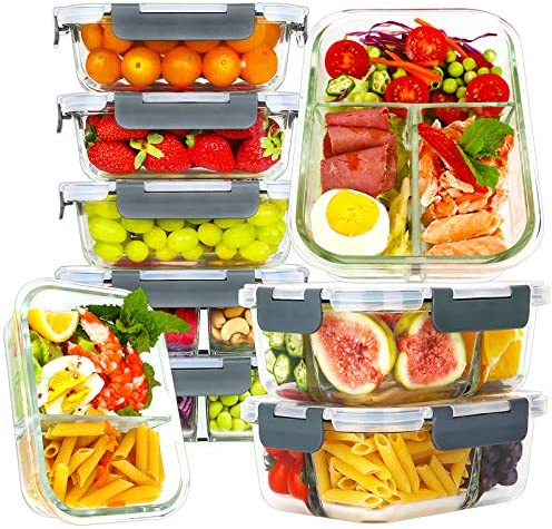 Bayco 9 Pack Glass Meal Prep Containers 3 2 1 Compartment Glass Food Storage Containers with product image