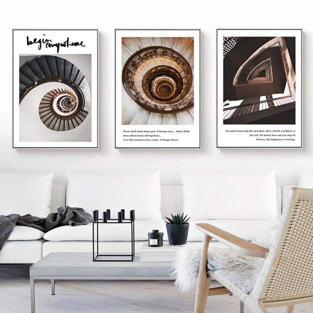 Escalera de caracol Nordic Canvas Scenery Print Nordic Wall Art Decoración para el hogar Sala de estar Cita Word Nordic Minimalist Art Decor Painting 16x20inch (40x50cm): Amazon.es: Bricolaje y herramientas