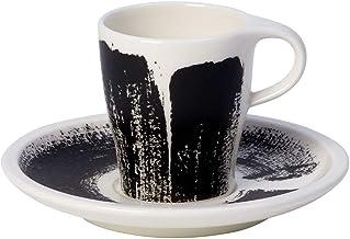 Villeroy & Boch Coffee Passion Awake Espresso Cup & Saucer Set, 3 oz, Black/White