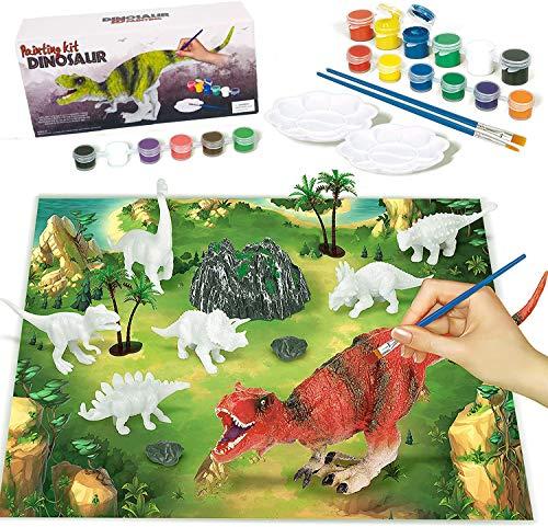 Afufu Pintar Dinosaurios Niños, Figuras Dinosaurios para Pintar Juegos de Manualidades, 3D Juguetes de Dinosaurios Creativo DIY Navidad/Cumpleaños Regalos para Niñas 3 4 5 6 7 a 12 Años
