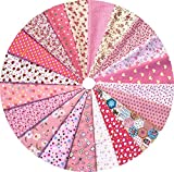 Grannycrafts 20pcs 20x30cm Top Cotton Printed Craft Fabric Bundle Squares Patchwork Lint Print Cloth Fabric Tissue DIY Sewing Scrapbooking Quilting Pink (Office Product)