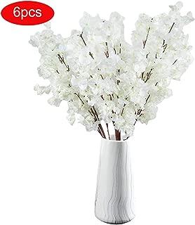TtMarket 6Pcs Artificial Cherry Blossom Flowers Silk Peach Branches Flowers Arrangements for Home Wedding Office Decoration -39-Inch (White)