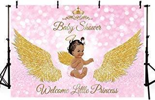 MEHOFOTO 7x5ft Royal Princess Girl Baby Shower Party Backdrop Props Bokeh Pink Angel Gold Wing Welcome Little Princess Decorations God Gift Photography Background Photo Banner